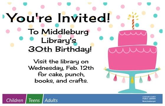 Middleburg Library, 30th Birthday flyer