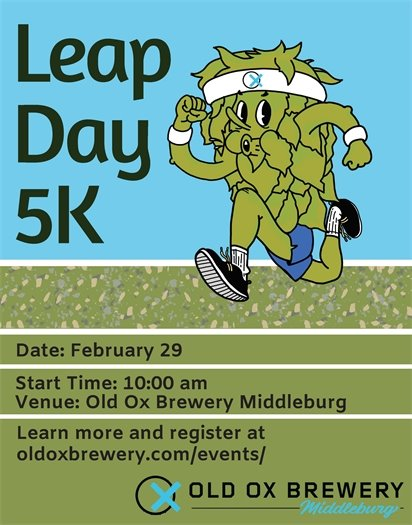 Old Ox, Leap Day 5K flyer