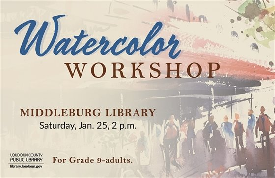 Middleburg Library, Watercolor workshop flyer