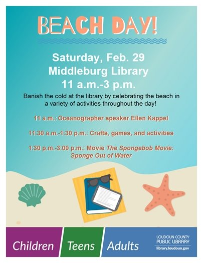Middleburg Library, Beach Day flyer