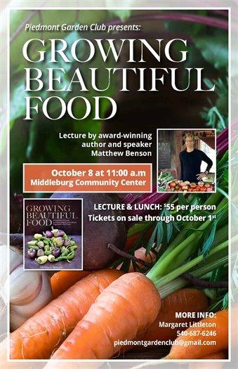 Piedmont Garden Club, Growing Beautiful Food Flyer
