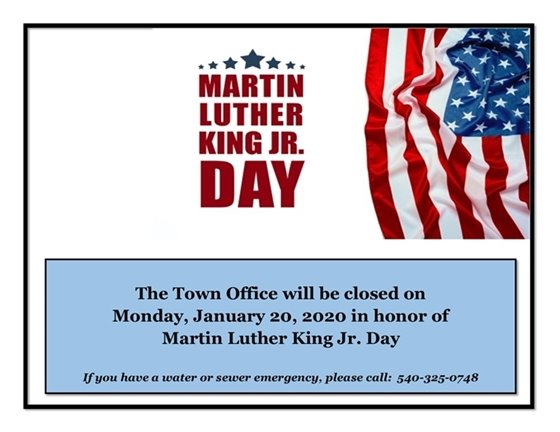 Office Closed-Martin Luther King Jr. Day sign