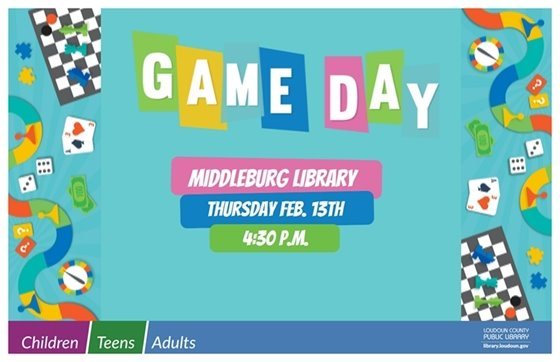Middleburg Library Game Day flyer