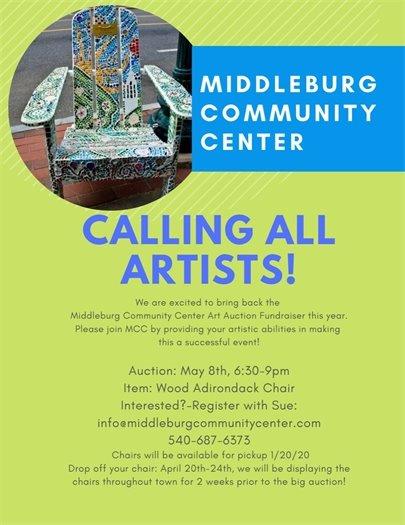Middleburg Community Center, Calling All Artists flyer