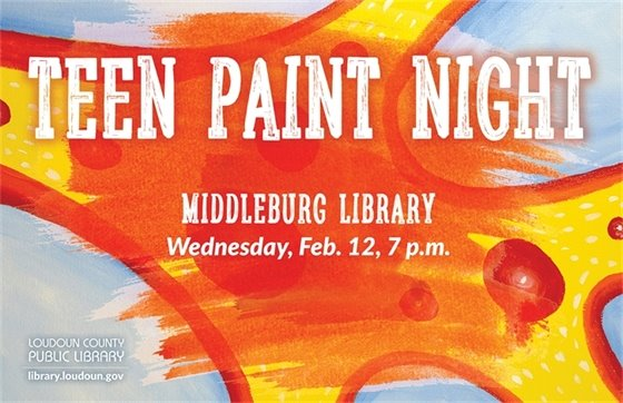 Middleburg Library, Teen paint night flyer