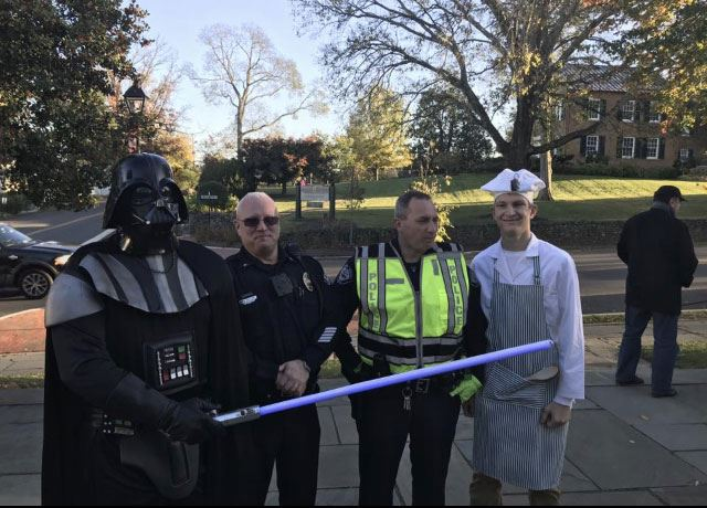 Officers Dressed up for Halloween