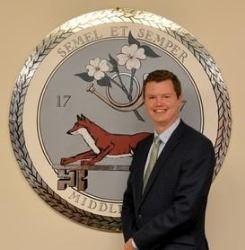 Danny Davis in Front of Middleburg Seal