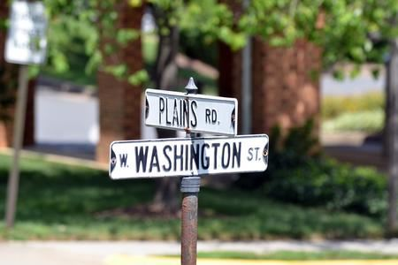 Plains and Washington Street Sign