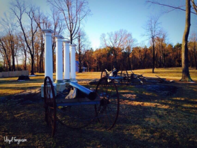 Civil War Cannons Beside a Monument