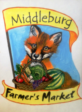 Mural of a Fox Holding a a Basket Full of Fruits and Vegetables