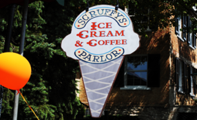 Scruffys Ice Cream and Coffee Parlor Sign